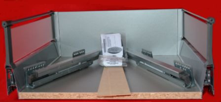 DBT Pan Soft Close Kitchen Drawer Box With Acrylic Sides - 270mm Deep x 180mm High x 400mm Wide